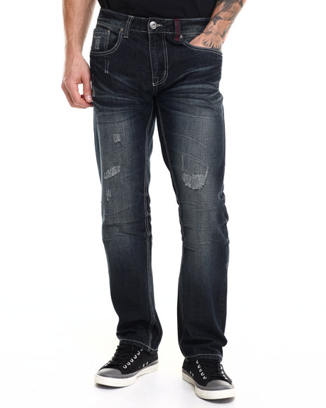 Ecko - Men Dark Wash Distressed Denim Jeans