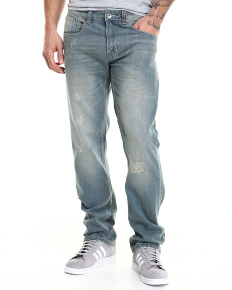 Ecko - Men Light Wash Distressed Denim Jeans