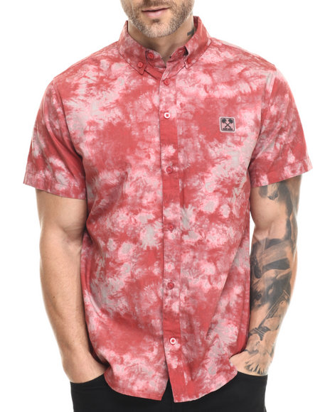 Ur-ID 216097 Ecko - Men Red Cotton Poplin S/S Button-Down