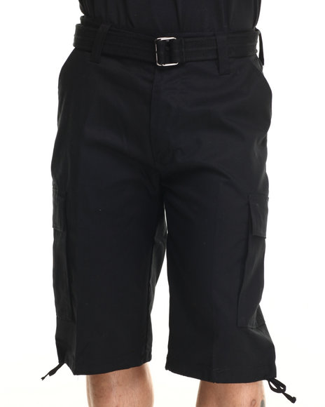 Ur-ID 216108 Buyers Picks - Men Black Army Belted Cargo Short