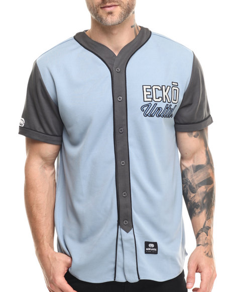 Ur-ID 216129 Ecko - Men Blue Athletic Mesh Baseball Jersey