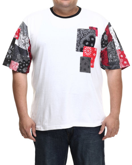 Akademiks - Men White Jacob Bandana Patchwork S/S Tee (B&T)