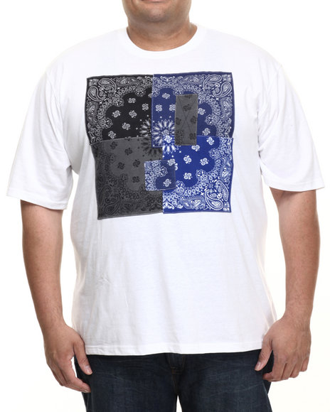 Akademiks - Men White Hanks Bandana Patchwork  S/S Tee (B&T)