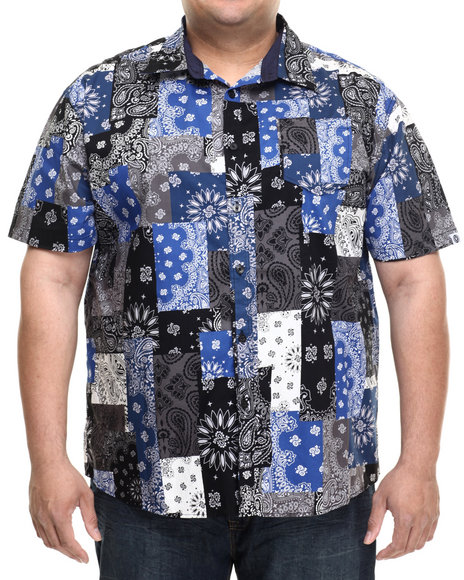 Akademiks - Men Black Harbor Patch Bandana S/S Button Down Shirt (B&T)