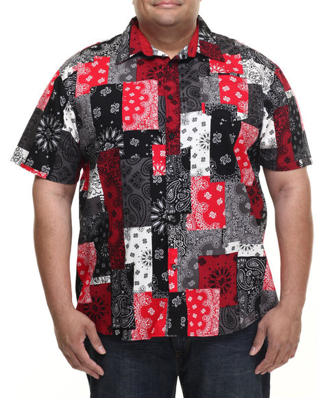 Akademiks - Men Red Harbor Patch Bandana S/S Button Down Shirt (B&T)