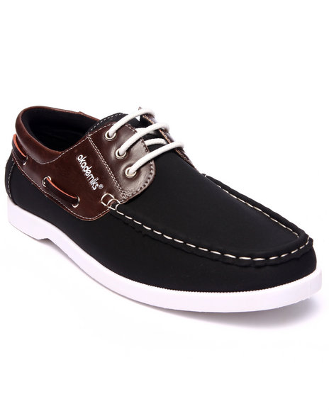 Akademiks - Men Black 2-Tone Laced Boat Shoe