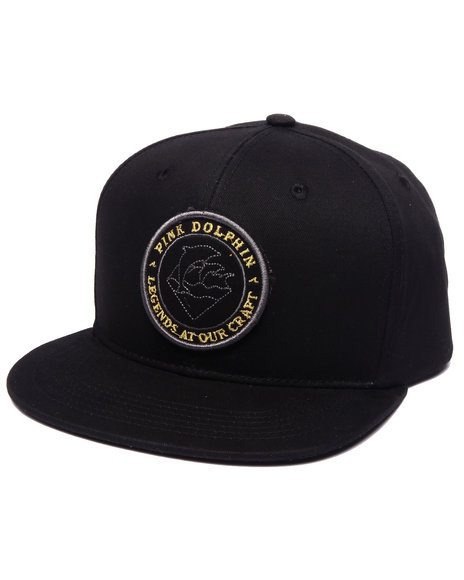 Ur-ID 223122 Pink Dolphin - Men Black Gold Seal Snapback Cap