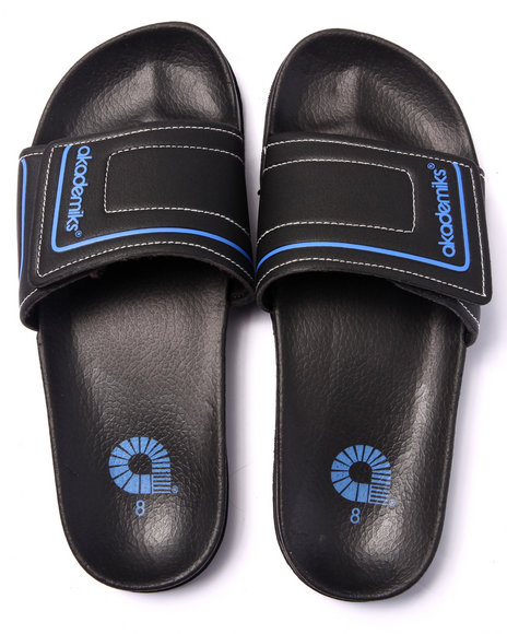 Ur-ID 216177 Akademiks - Men Blue Akademiks Logo Strap Slide Sandals