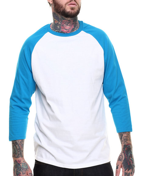 Basic Essentials - Men Turquoise,White 3 / 4 Sleeve Raglan Tee