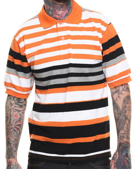 Basic Essentials - Men Orange Basic Multi - Stripe Pique S/S Polo