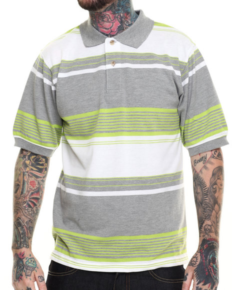 Basic Essentials - Men Lime Green Basic Striped Pique S/S Polo
