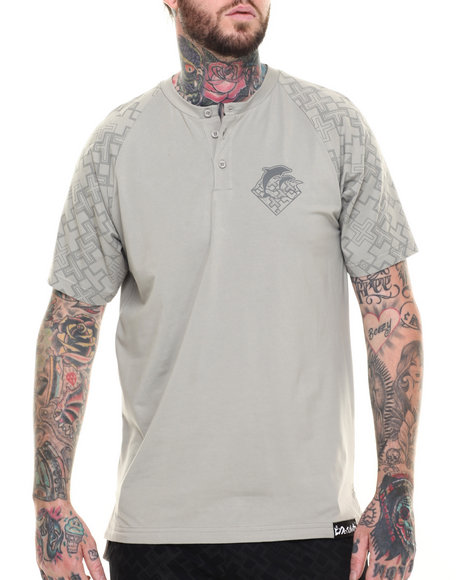 Ur-ID 216203 Pink Dolphin - Men Grey Waves S/S Henley