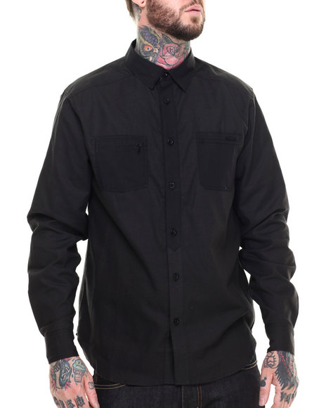Ur-ID 216216 Ecko - Men Black Chambray Contrast L/S Button-Down