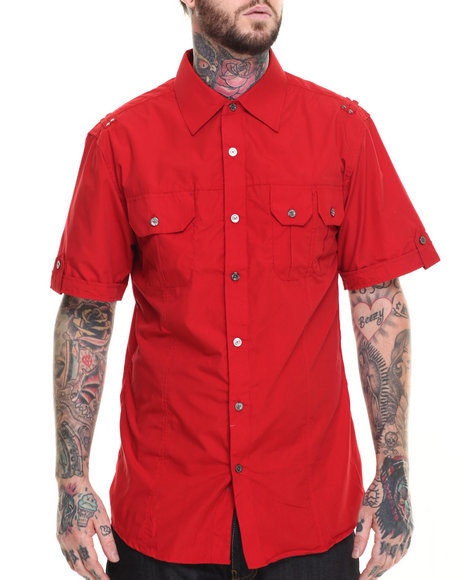 Basic Essentials - Men Red Basic Solid S/S Button-Down