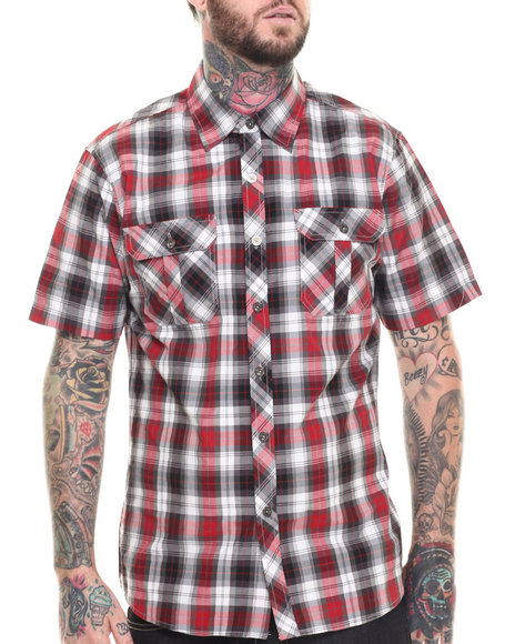 Basic Essentials - Men Red Basic Plaid S/S Button-Down
