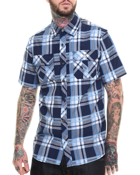 Basic Essentials - Men Navy Basic Plaid S/S Button-Down