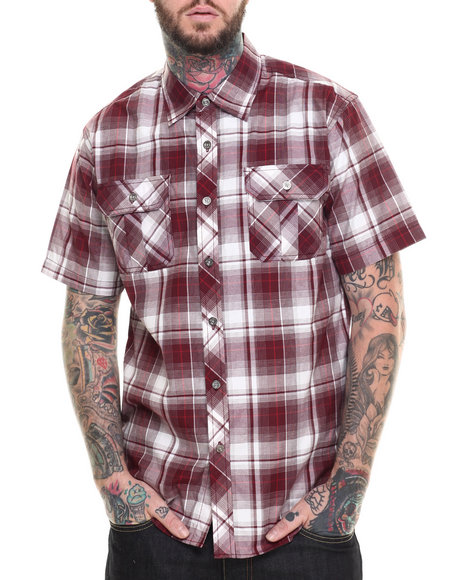 Basic Essentials - Men Maroon Basic Plaid S/S Button-Down