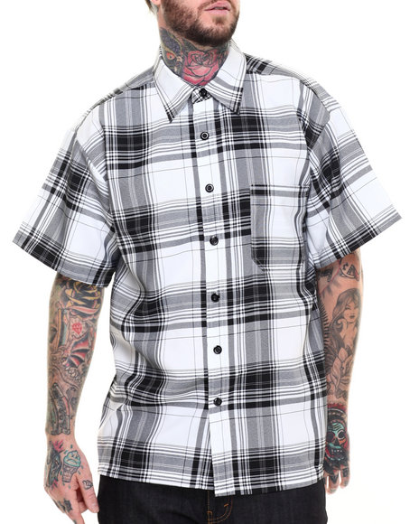 Basic Essentials - Men Black Basic Plaid S/S Button-Down