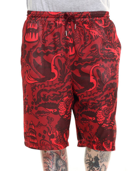 Pink Dolphin - Men Red Wave Forest Mesh Shorts
