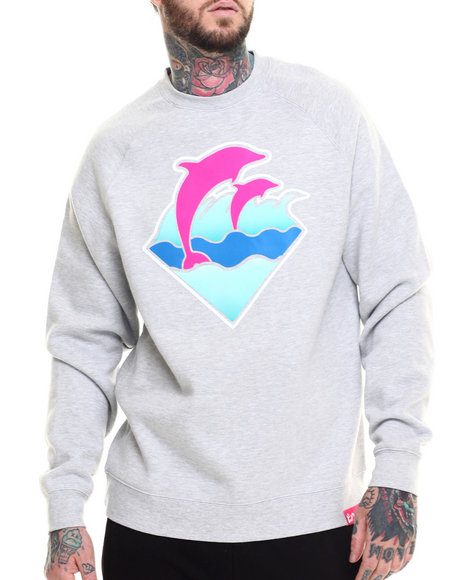 Ur-ID 216208 Pink Dolphin - Men Grey Waves Crewneck Sweatshirt