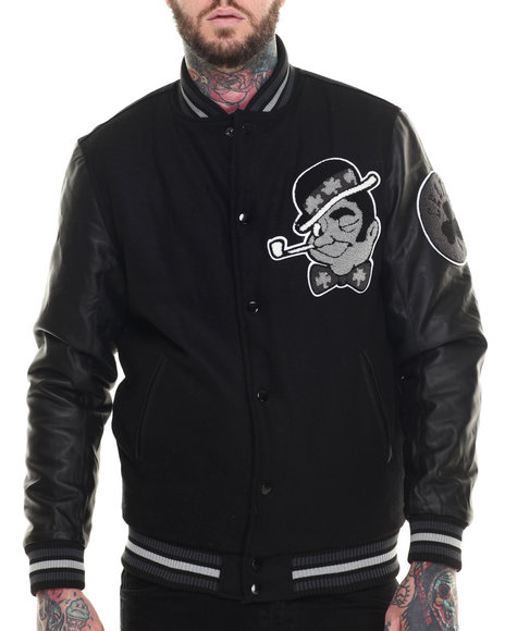 Ur-ID 216226 NBA, MLB, NFL Gear - Men Black Boston Celtics Bogue Varsity Jacket W/ Vegan Leather Sleeves