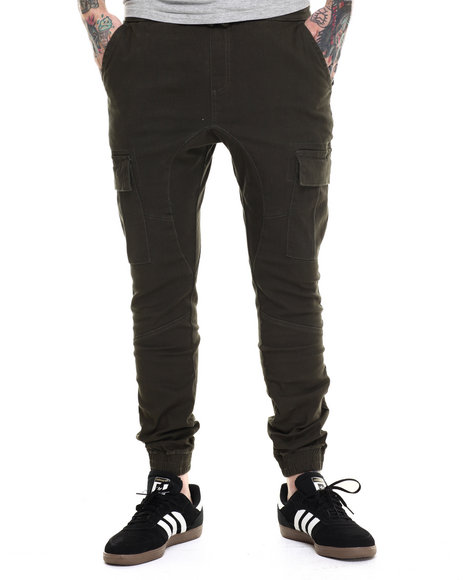 Basic Essentials - Men Olive Cargo Jogger Pants