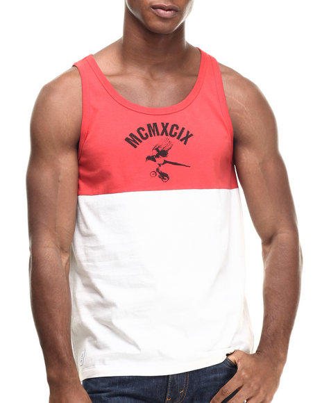 Wesc - Men Red Corvus Printed Tank Top