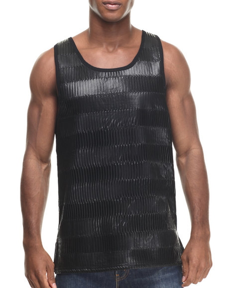 Buyers Picks - Men Black Pleast Full Faux Leather Tank Top - $25.00