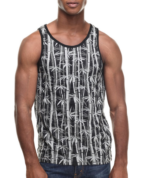 Buyers Picks - Men Charcoal Bamboo Print Tank Top - $8.99