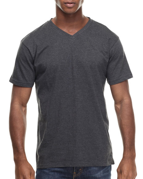Basic Essentials - Men Charcoal V - Neck S/S Tee
