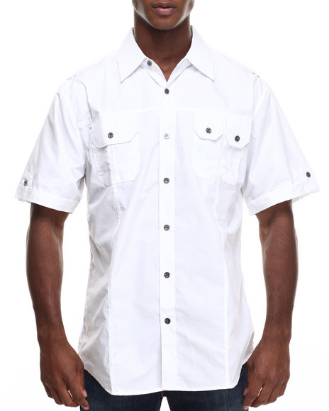 Ur-ID 216322 Basic Essentials - Men White Basic Solid S/S Button-Down
