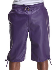 Men - Full Faux leather drawstring shorts