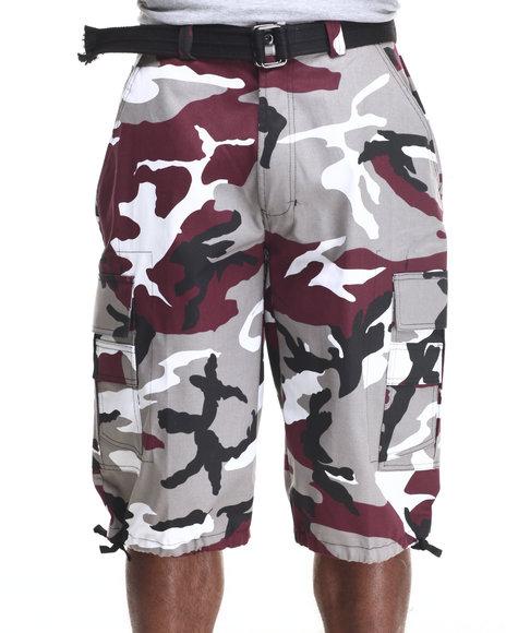 Ur-ID 216301 Basic Essentials - Men Maroon Belted Cotton Camo Cargo Shorts