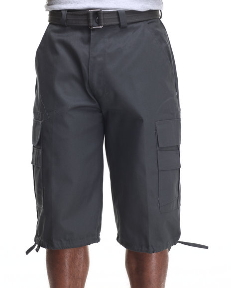 Basic Essentials - Men Charcoal Belted Cotton Cargo Shorts