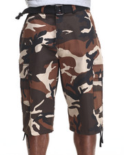 Men - Belted Cotton Camo Cargo Shorts