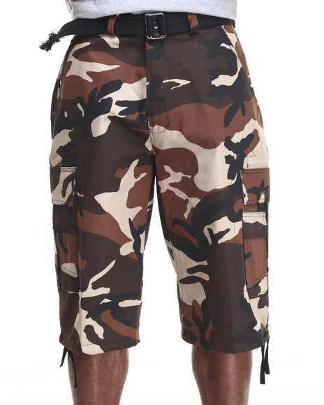 Basic Essentials - Men Brown,Camo Belted Cotton Camo Cargo Shorts