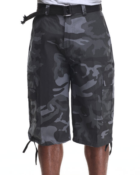Basic Essentials - Men Black,Camo Belted Cotton Camo Cargo Shorts