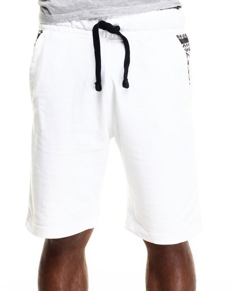 Buyers Picks - Men White Native Print Trim Sweatshorts