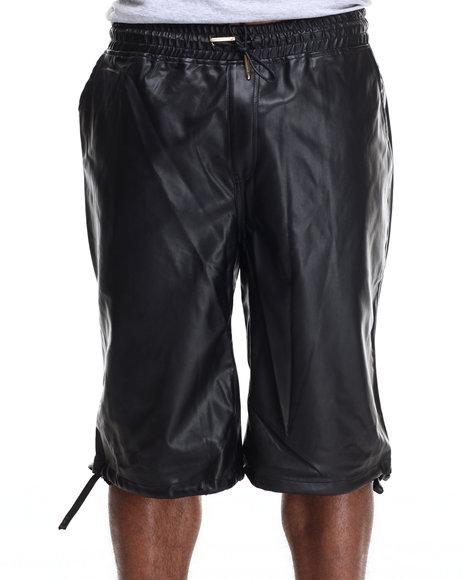 Buyers Picks - Men Black Full Faux Leather Drawstring Shorts
