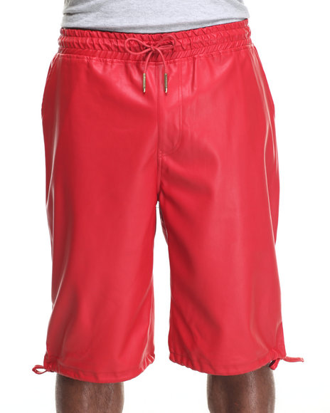 Buyers Picks - Men Red Full Faux Leather Drawstring Shorts