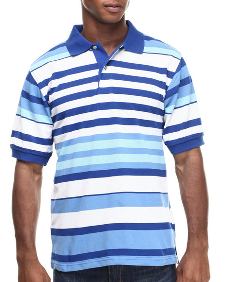 Basic Essentials - Men Light Blue Basic Multi - Stripe Pique S/S Polo