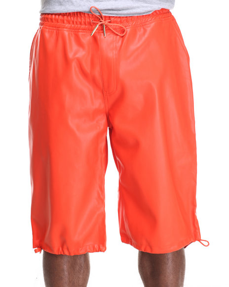 Buyers Picks - Men Orange Full Faux Leather Drawstring Shorts