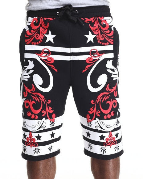 Buyers Picks - Men Black Dazed Ornate 3 D Print Fleece Shorts
