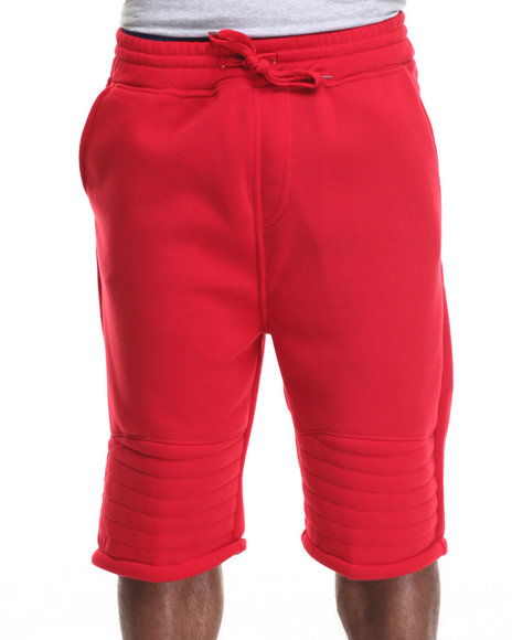 Basic Essentials - Men Red Moto X Trimmed Fleece Shorts
