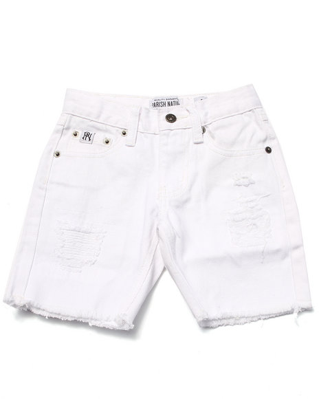 Parish - Boys White Distressed Twill Shorts (4-7)