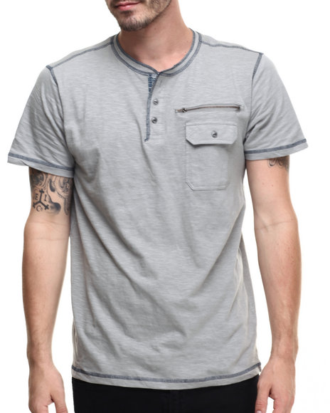 Ur-ID 216369 Buyers Picks - Men Grey Native Print Trim Henley S/S Tee
