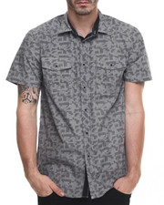 Men - Digi Print double pocket  s/s button down shirt