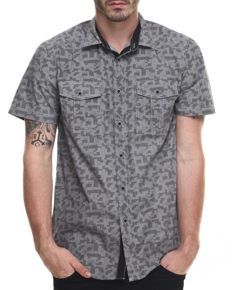 Ur-ID 216370 Buyers Picks - Men Grey Digi Print Double Pocket  S/S Button Down Shirt