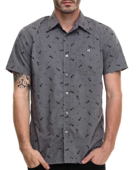 Ur-ID 216395 Buyers Picks - Men Grey Pineapple Print S/S Button Down Shirt