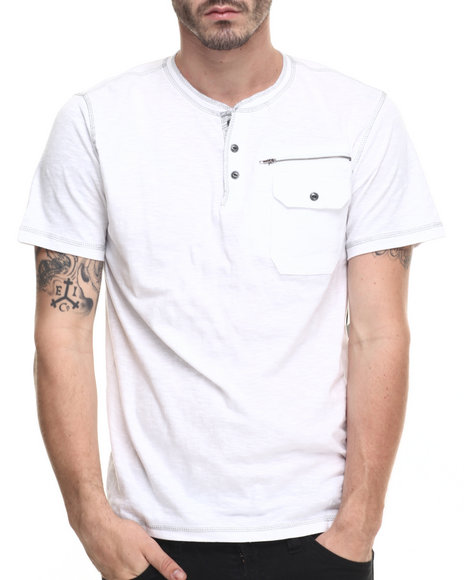 Ur-ID 216397 Buyers Picks - Men White Native Print Trim Henley S/S Tee
